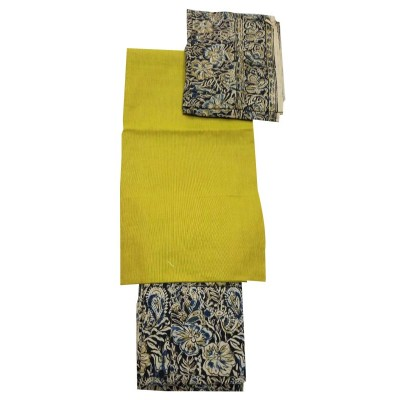 Lakshmi Silks Yellow Kalamkari Un-Stitched Dress Material