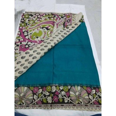 Lakshmi Silks Blue Silk Kalamkari Saree