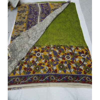 Lakshmi Silks Green Silk Kalamkari Saree