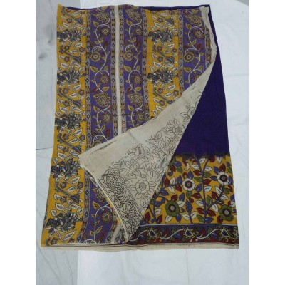 Lakshmi Silks Navy Blue Silk Kalamkari Saree