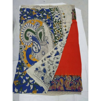 Lakshmi Silks Orange Silk Kalamkari Saree