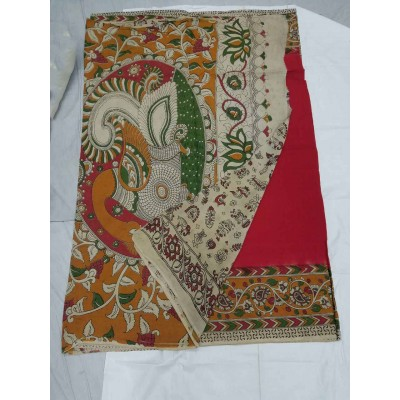 Lakshmi Silks Red Silk Kalamkari Saree