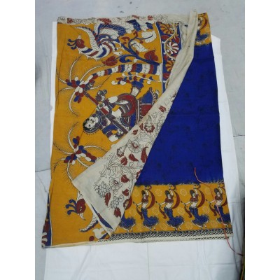 Lakshmi Silks Light Yellow Silk Kalamkari Saree