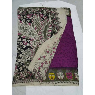 Lakshmi Silks Violet Silk Kalamkari Saree