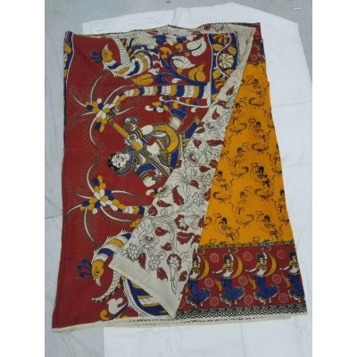 Lakshmi Silks Yellow Silk Kalamkari Saree