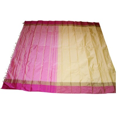 MC Trendz Cream Art Silk Arani Pattu Saree