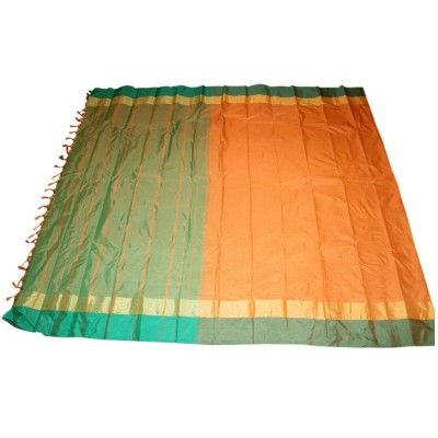 MC Trendz Orange Art Silk Arani Pattu Saree