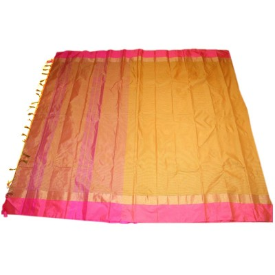 MC Trendz Yellow Art Silk Arani Pattu Saree