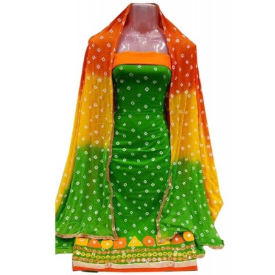 MC Trendz Green Cotton Bandhani Un-Stitched Dress Material