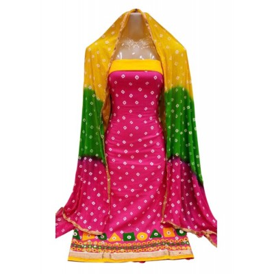 MC Trendz Pink Cotton Bandhani Un-Stitched Dress Material