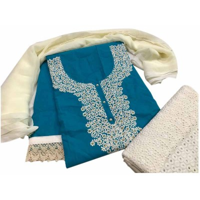 MC Trendz Blue Cotton Kashmiri Worked Un-Stitched Dress Material