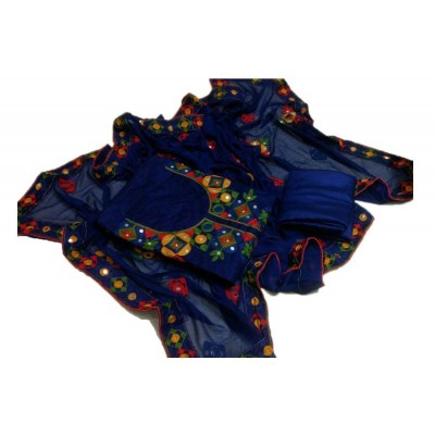 MC Trendz Dark Blue Chanderi Aari Worked Semi-Stitched Dress Material
