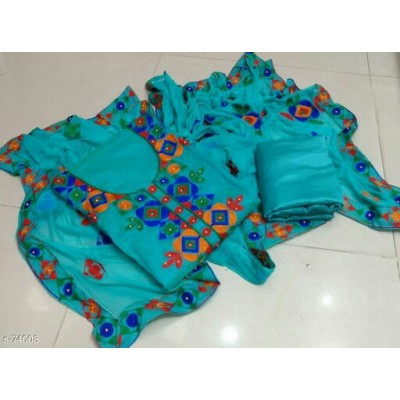 MC Trendz Sky Blue Chanderi Aari Worked Semi-Stitched Dress Material