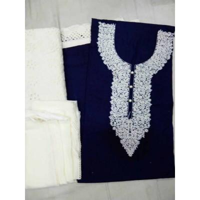 MC Trendz Navy Blue Cotton Kashmiri Worked Un-Stitched Dress Material