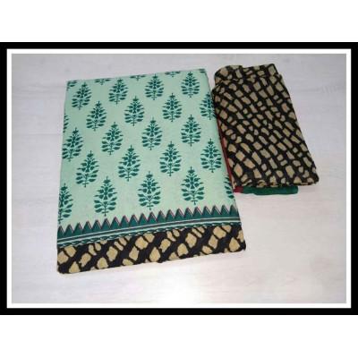 MC Trendz Light Green Cotton Printed Un-Stitched Dress Material