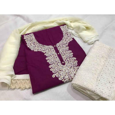 MC Trendz Maroon Cotton Kashmiri Worked Un-Stitched Dress Material