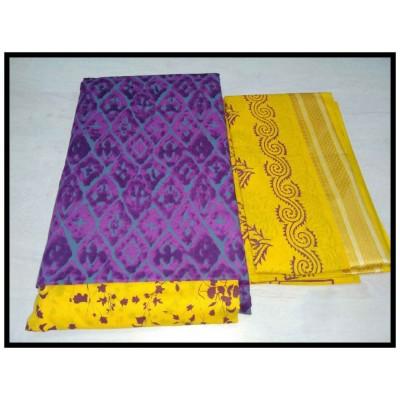 MC Trendz Violet Cotton Printed Un-Stitched Dress Material