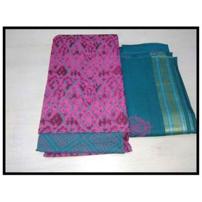 MC Trendz Pink Cotton Printed Un-Stitched Dress Material