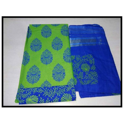 MC Trendz Green Cotton Printed Un-Stitched Dress Material