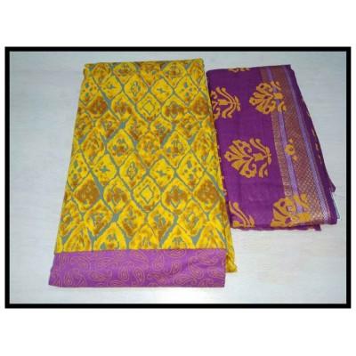MC Trendz Yellow Cotton Printed Un-Stitched Dress Material