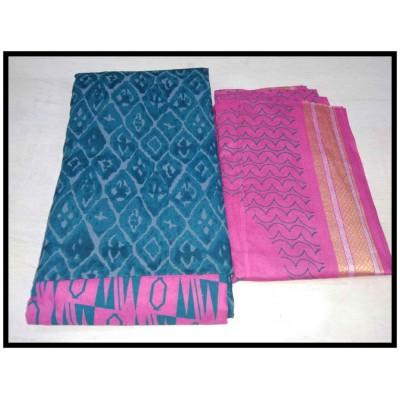MC Trendz Blue Cotton Printed Un-Stitched Dress Material
