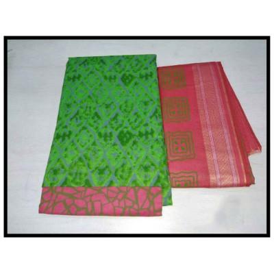 MC Trendz Green Cotton Un-Stitched Dress Material
