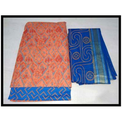 MC Trendz Orange Cotton Printed Un-Stitched Dress Material