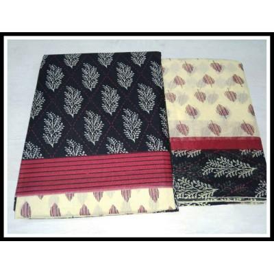 MC Trendz Black Cotton Printed Un-Stitched Dress Material