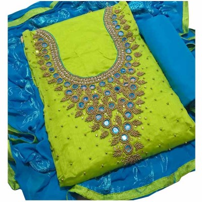 MC Trendz Light Green Chanderi Silk Hand Printed Batik Un-Stitched Dress Material