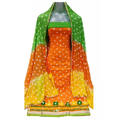MC Trendz Orange Cotton Bandhani Un-Stitched Dress Material