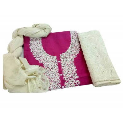 MC Trendz Pink Cotton Kashmiri Worked Un-Stitched Dress Material