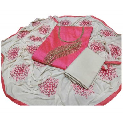 MC Trendz Pink Chanderi Silk Hand Printed Batik Un-Stitched Dress Material