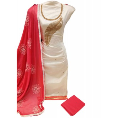 MC Trendz White Chanderi Silk Un-Stitched Dress Material