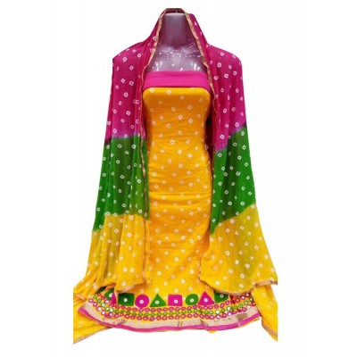 MC Trendz Yellow Cotton Bandhani Un-Stitched Dress Material
