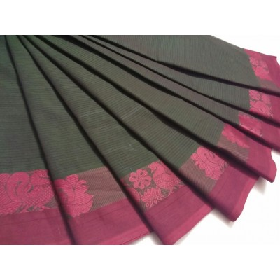 Balamurugan Ash Cotton Border Worked Chettinadu Handloom Saree
