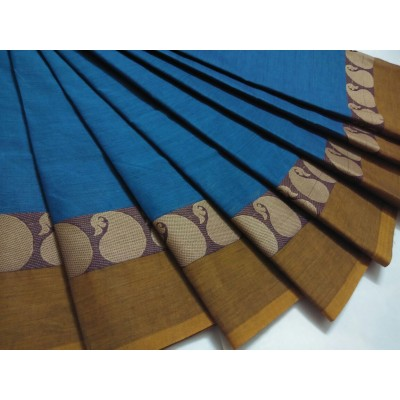 Balamurugan Blue Cotton Mango border Chettinadu Handloom Saree