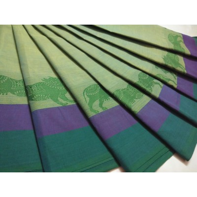 Balamurugan Light Green Cotton Border Worked Chettinadu Handloom Saree