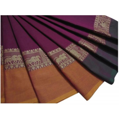 Balamurugan Magenta Cotton Ganga-Jamuna bordered Chettinadu Handloom Saree