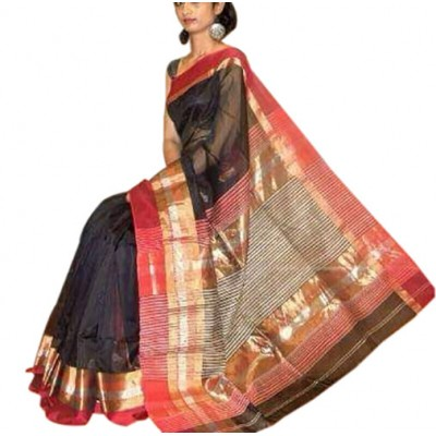 Kalim Black Cotton Silk Maheshwari Handloom Saree