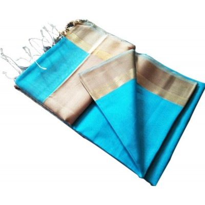 Kalim Blue Cotton Silk Tussar Resham Border Maheshwari Handloom Saree