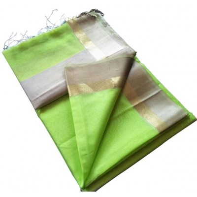 Kalim Light Green Cotton Silk Tussar Resham Border Maheshwari Handloom Saree
