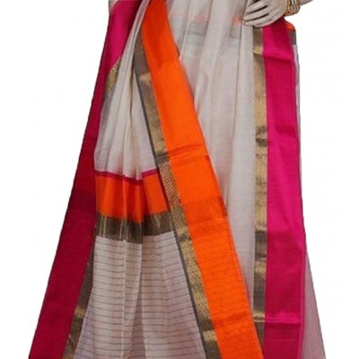 Kalim Off White Cotton Silk Ganga-Jamuna bordered Maheshwari Handloom Saree