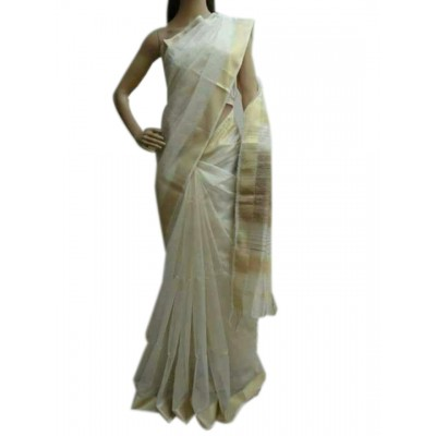 Kalim Off White Cotton Silk Maheshwari Handloom Saree