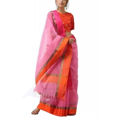 Kalim Rose Cotton Silk Ganga-Jamuna bordered Maheshwari Handloom Saree