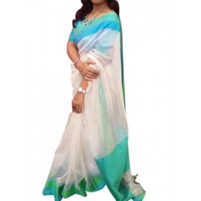 Kalim White Cotton Silk Maheshwari Handloom Saree