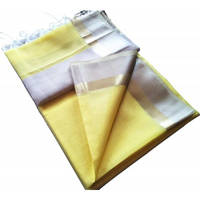 Kalim Yellow Cotton Silk Tussar Resham Border Maheshwari Handloom Saree