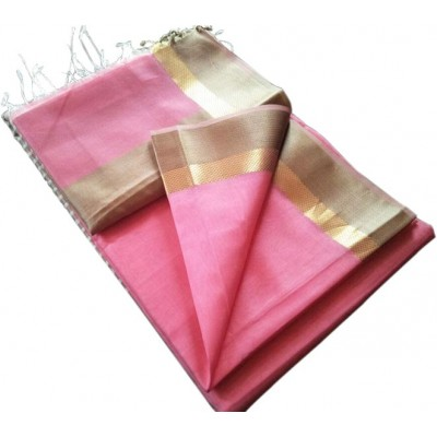 Kalim Rose Cotton Silk Tussar Resham Border Maheshwari Handloom Saree