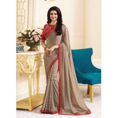 Aradhya Fabrics Beige Georgette Printed Saree