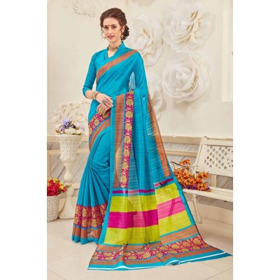 Aradhya Fabrics Blue Bhagalpuri Cotton Printed Saree