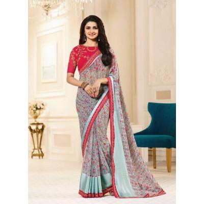 Aradhya Fabrics Blue Georgette Printed Saree